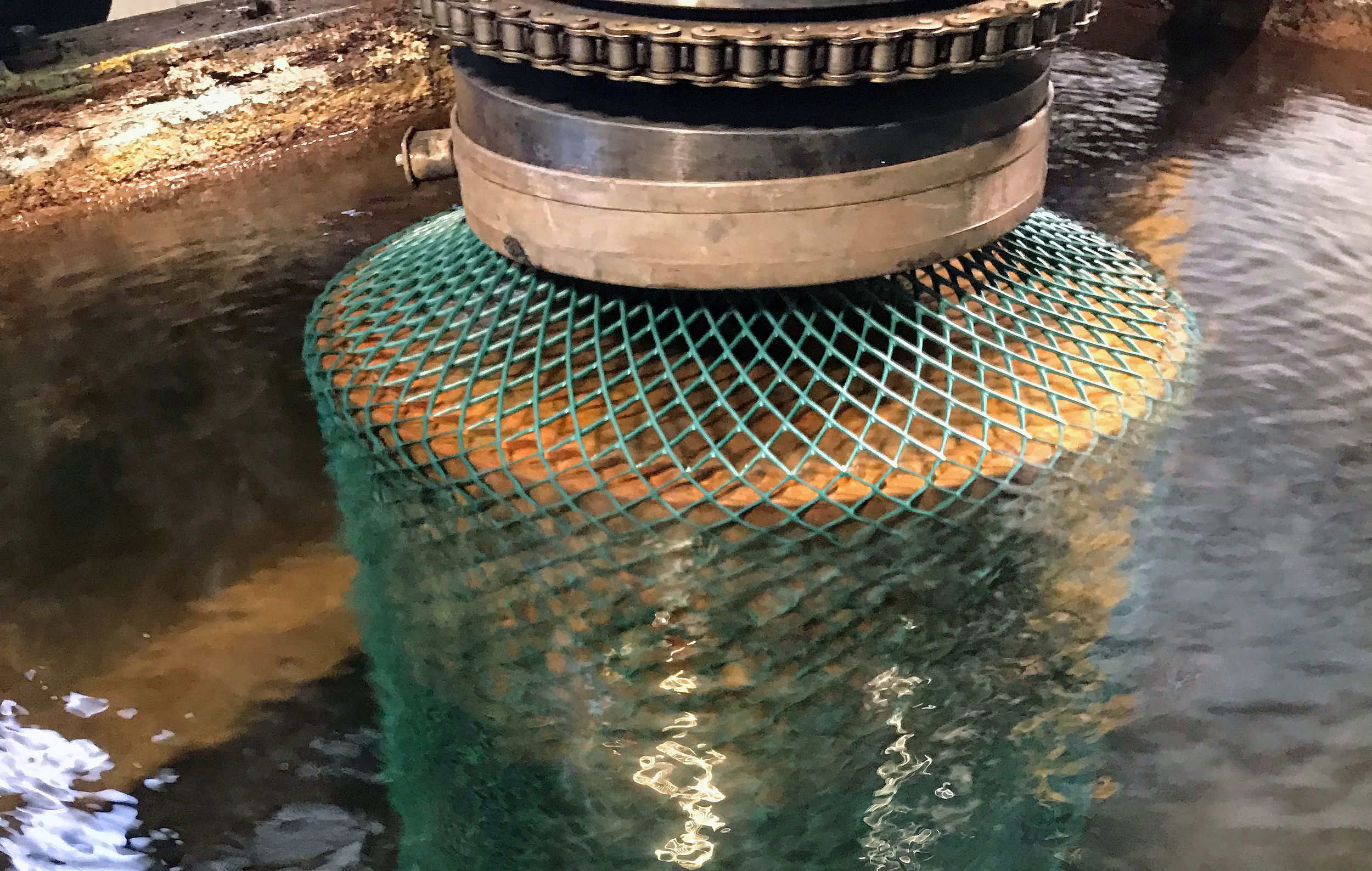 Net being put in water by machines